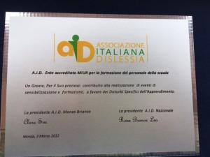 Targa di riconoscimento DSA -  03/03/2012