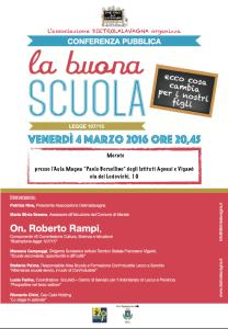 Locandina conferenza La Buona Scuola - 4/03/2016
