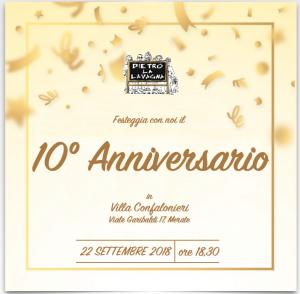 Locandina nostro decennale - 22/09/2018 ore 18:30 - festa su prenotazione